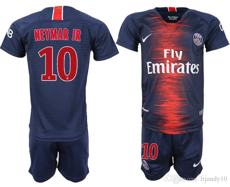 0523db0f81a8f Compre PSG KID Camiseta De Fútbol 2019 Paris MBAPPE NEYMAR JR Saint Germain  Camiseta 18 19 Camisetas Fútbol Kit Campeones Camiseta Niños A  19.1 Del ...