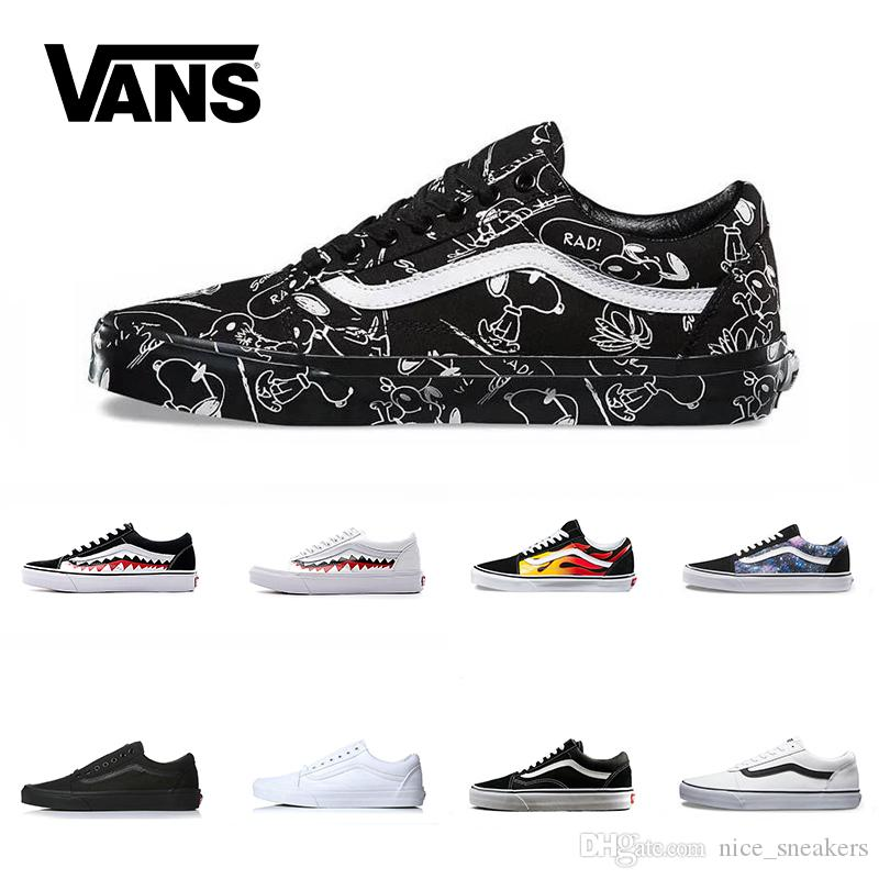d6b8d1ac121 Vans Old Skool Men Women Casual Shoes Rock Flame Yacht Club Sharktooth  Peanuts Skateboard Black White Mens Sport Running Sneaker Size 36 44 Dress  Shoes ...