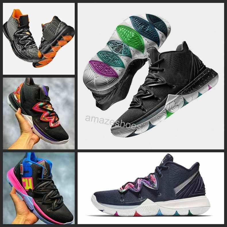 5db9f5cf54265 Zapatillas De Baloncesto Kyrie 5 Taco 2019 Nuevas Zapatillas De Deporte  Negras Kyrie Irving Zapatillas Deportivas Para Hombre 7 12 Por Amazeshoes