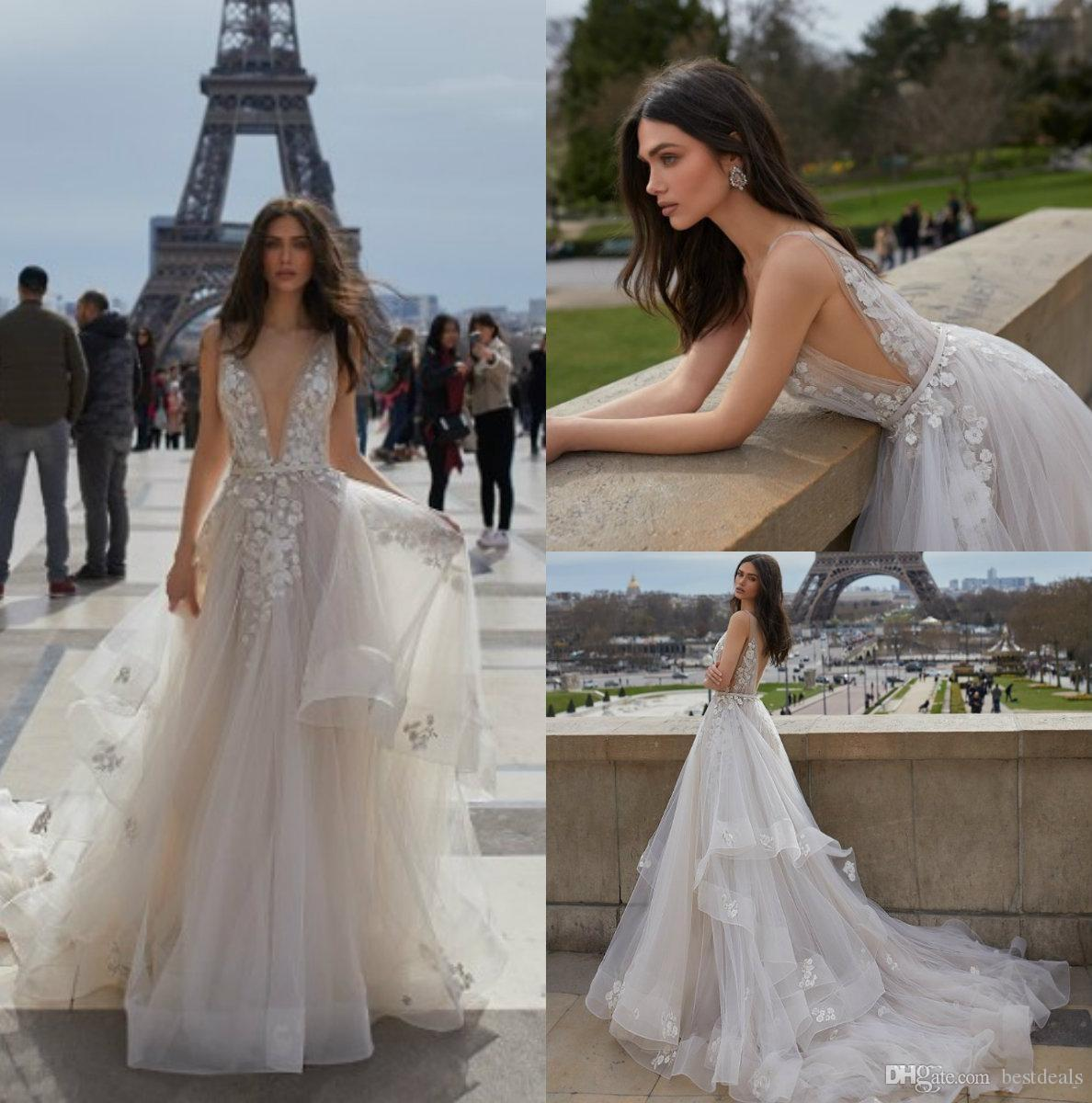 Julie Vino 2019 Backless Wedding Dress V Neck Appliqued Bridal Gowns Custom vestido de novia Sweep Train Castle Wedding Gowns Cheap
