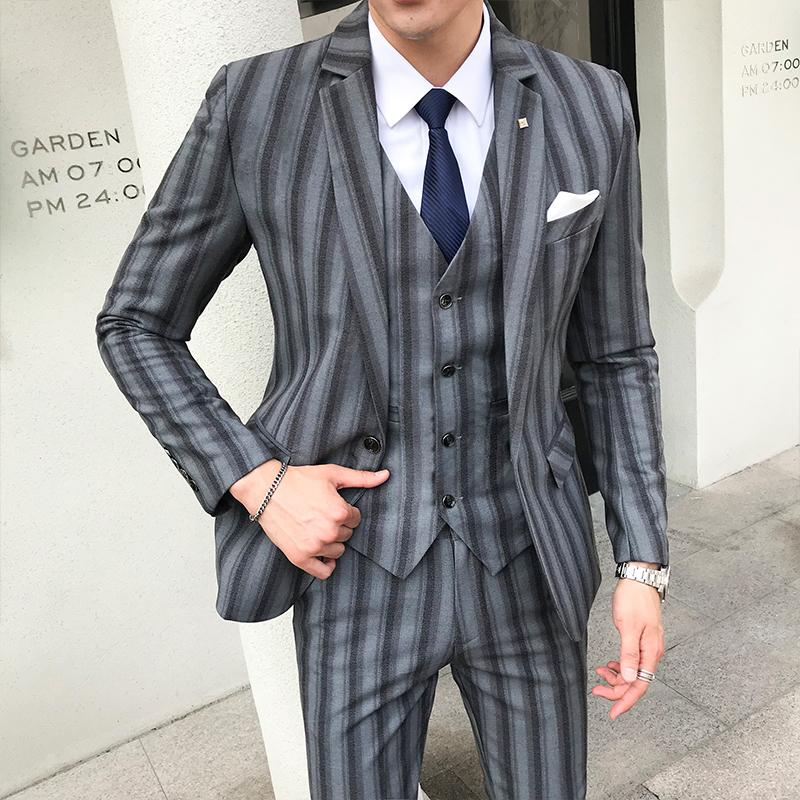 fde8d0c1c80 2018 Mens Clothing Luxury Wedding Suit Men (jacket+vest+trousers) Korean  Style Slim Fit Suit Jacket Male Casual Striped Men