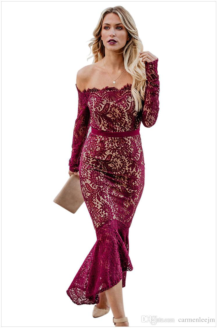 Long Sleeve Off Shoulder Evening Party Dresses 2019 Elegant Lace Formal Prom Long Dresses Gowns Women Special Occasion Celebrity Vestidos