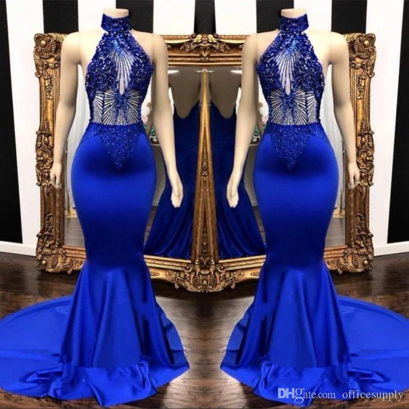 19d15ec4d9c Sexy Royal Blue Prom Dresses 2019 Keyhole Neck Appliques Beads Long  Backless Cascading Ruffles Mermaid Evening Dress Party Gowns For Women Prom  Dresses For ...