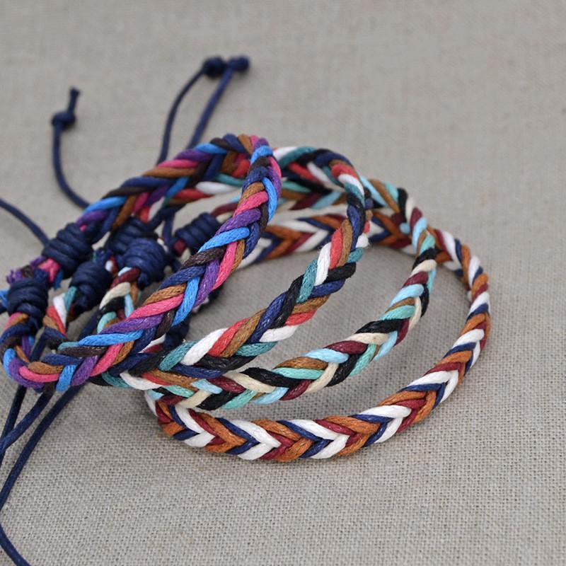 24f027878205 Colorful Handmade Beach Braid String Cotton Wrap Woven Rope Woven Bracelets  For Women&Men Adjustable Size Charm Bracelet Chain Charm Bracelet Gold From  ...