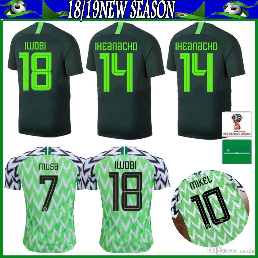 5ffbc72d9d0 2019 Nigeria JERSEY 2018 World Cup MIKEL Home Green White Soccer ...