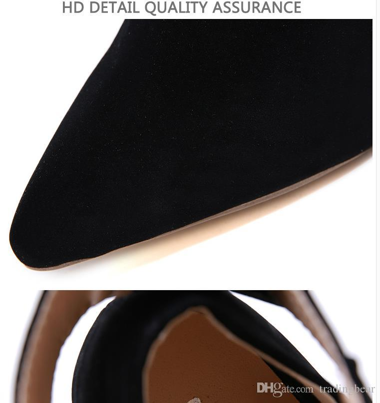 Designer luxury heels office women fashion black synthetic suede pointed toe pumps with buckle size 35 to 40