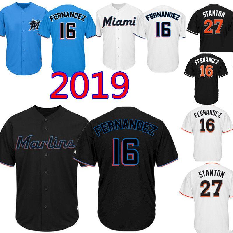 new product 23f99 87f69 Miami Black Marlins Jersey New 16 Jose Fernandez Baseball Jerseys Mens  Embroidery 27 Giancarlo Stanton M-XXXL