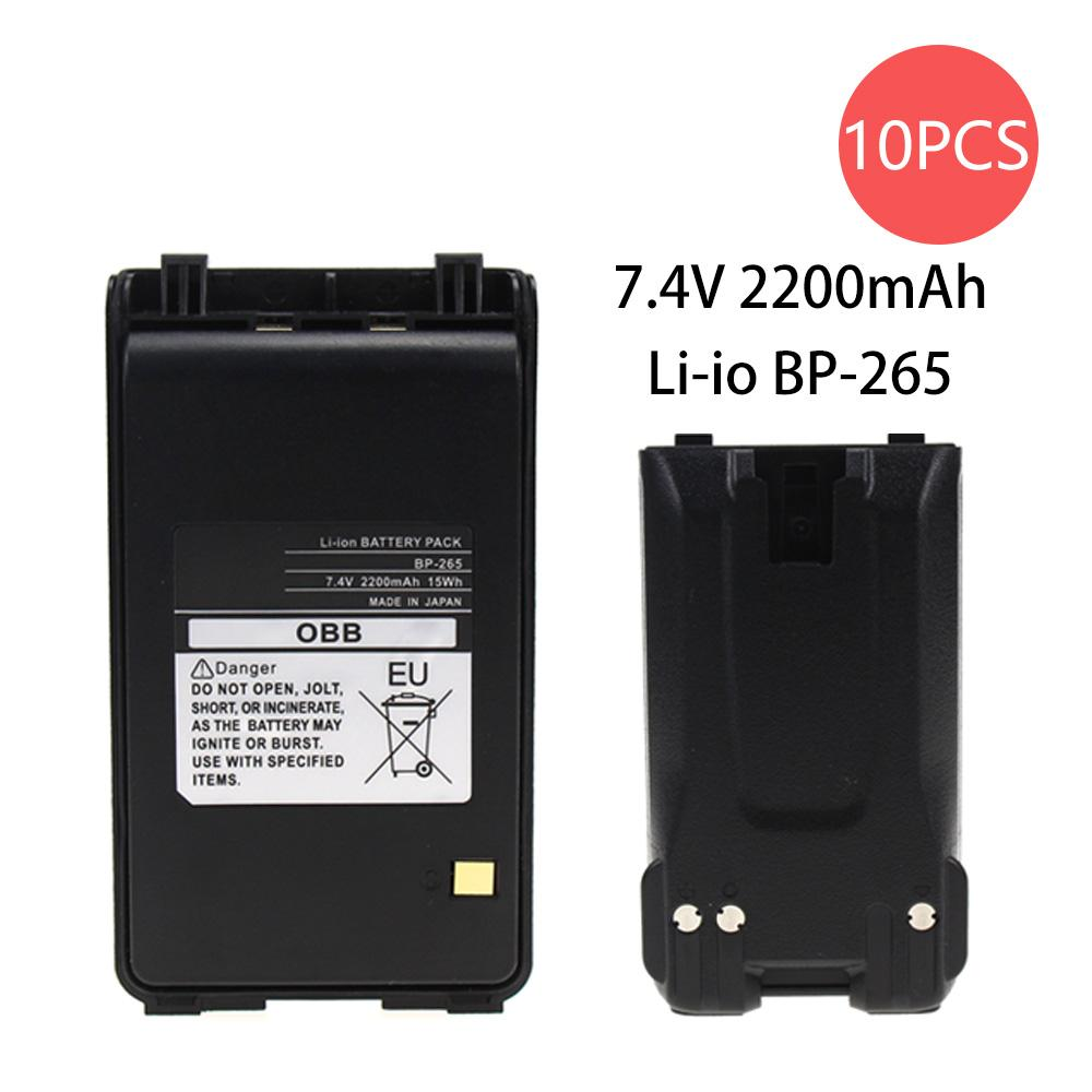10 Pcs 2200mAh BP-265 Li-Ion Battery Extended Replacement for -T70A IC-T70E IC-V80 IC-V80E Two Way Radio