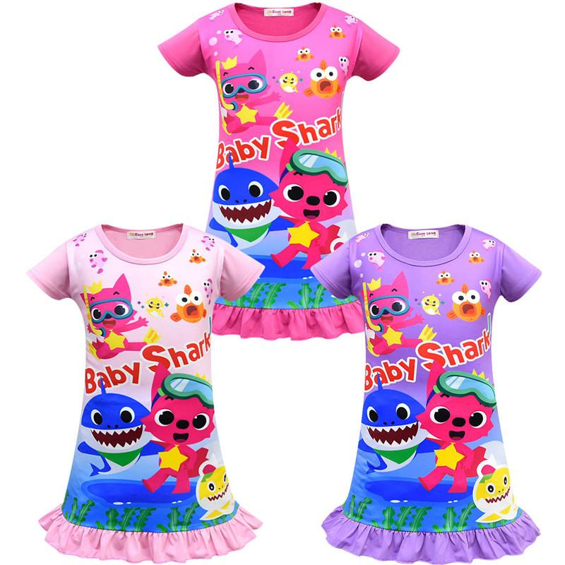 0de2dee68b21b Girls Baby Shark Dress 100 140cm Kids Cute Cartoon Shark Print Short Sleeve  Pajamas Dresses Baby Summer Skirt Night Clothes 2019 New Womens Sundresses  On ...