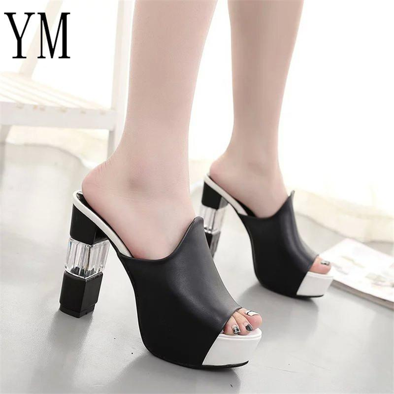 89f9ac60bde Dress 018 Sexy Summer Women Elegant Red High Heel Sandals Peep Toe Platform  Shoes Crystal Chunky Heel Shoes Lady Thick Heel Fashion 40 Wedges Shoes  White ...