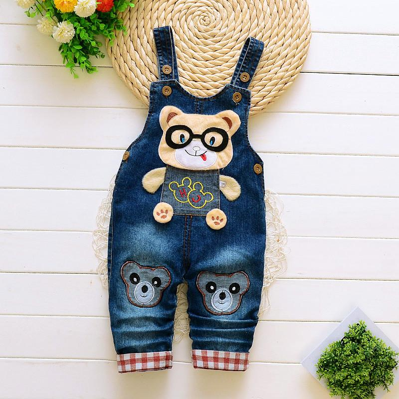 good quality 2019 baby boys overalls cartoon spring jumpsuits for infant boys new denim trousers for toddler boys pants jeans