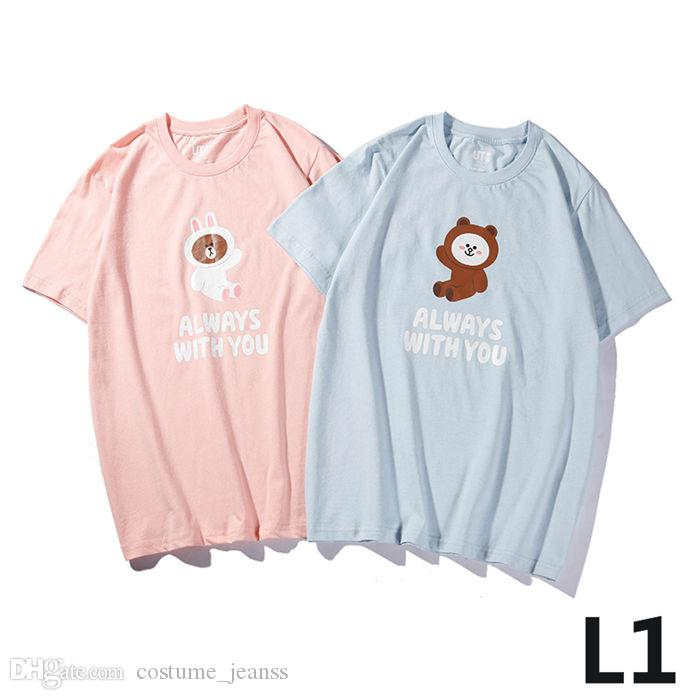 2019 New Japan hot selling core brand joint name, UT X Line friends solid color cartoon pattern round neck men and women t-shirt m-3xl