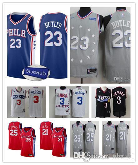 new products cd568 509bf Mens 2019 Philadelphia basketball Jimmy Butler Jersey Joel Embiid ben  simmons Allen Iverson stitched Jerseys