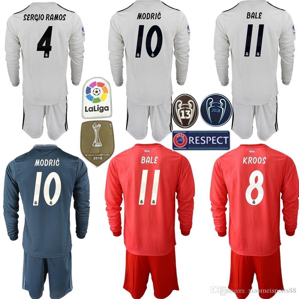 buy popular ab527 dc5d2 2018 2019 Soccer Long Sleeve Real Madrid ASENSIO Jersey Set Men RAMOS  MODRIC ISCO BENZEMA KROOS MARCELO Football Shirt Kits Uniform
