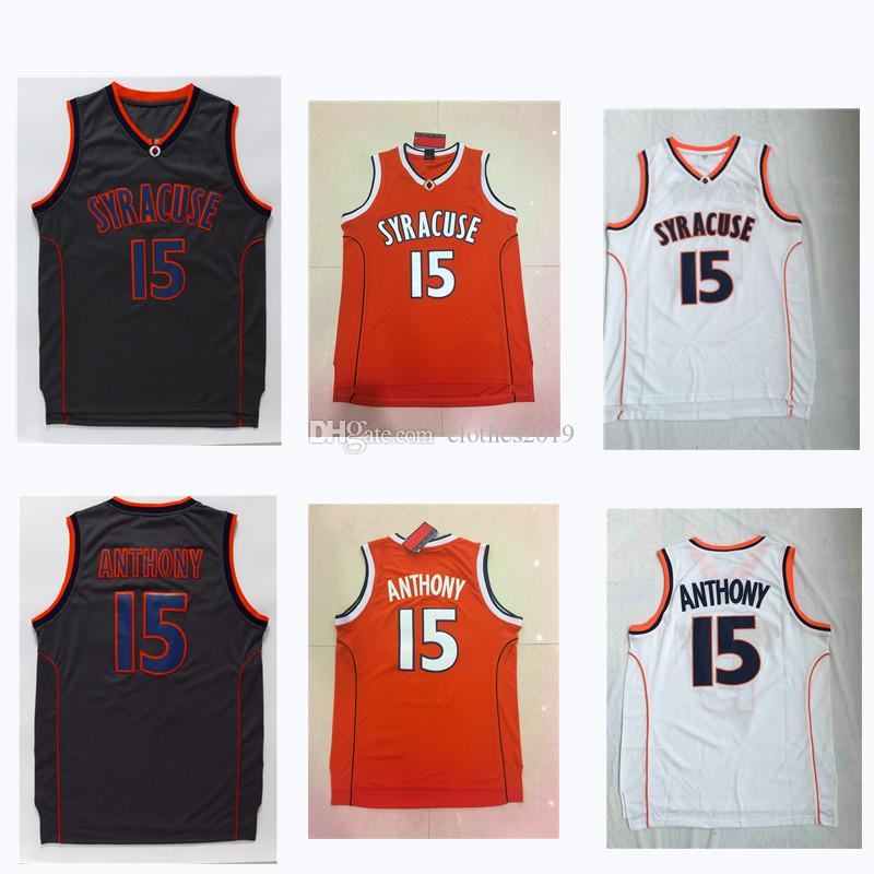 NCAA New Men Basketball Trikots 15 Carmelo Anthony SYRACUSE College Jersey Genäht Sports Athletic Weste Größe S-XXL