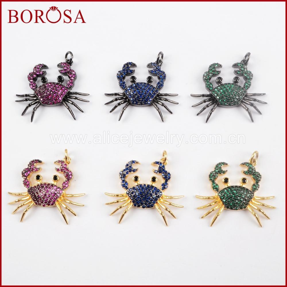 BOROSA 5PCS Chic Crab Insect Micro Pave CZ Small Insect Pendant Multicolor Animal Charms Jewelry Pendant Jewelry for Women WX835