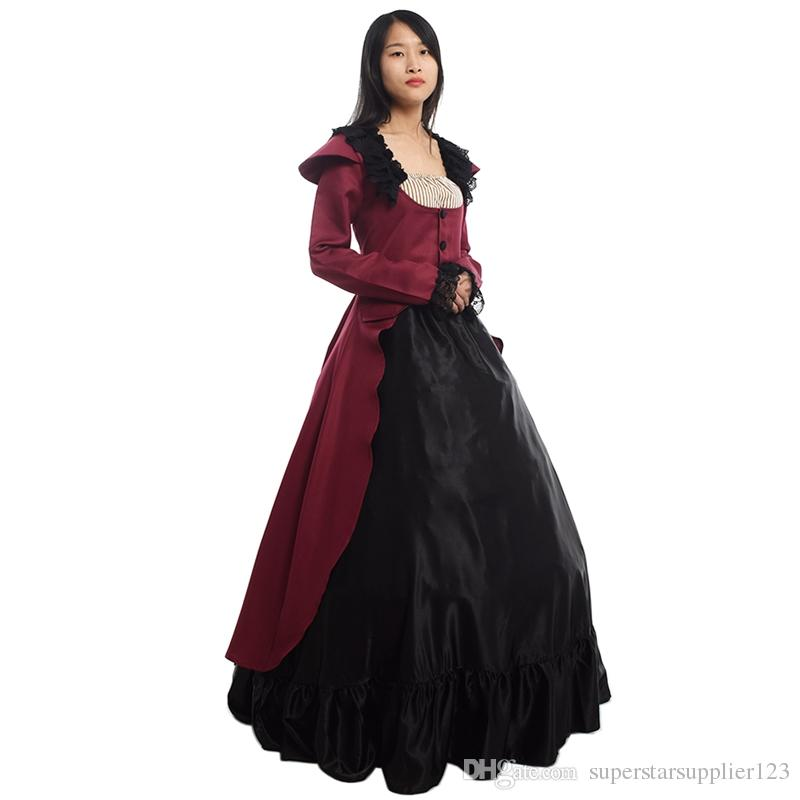 Female Vintage Victorian Lolita Dress Women Halloween Party Gothic Reenactment Bustle Ball Gown Costume High Quality
