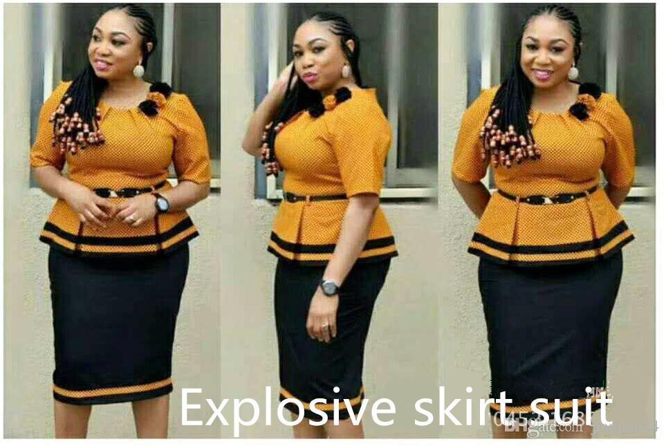 68799059408f5 Compre Modelos De Explosión Fuente De Comercio Exterior De Las Mujeres  Africanas Costura Color De Contraste Camisa A Cuadros Pequeña + Traje De  Media Falda ...