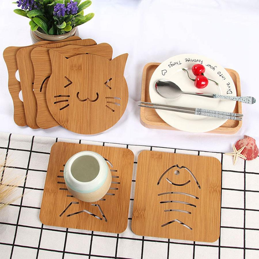 9 styles Wood Heat Resistant Pad Pan Pot Mat Holder Kitchen Cooking Isolation Pad Bowl Cup Coasters RRA2108