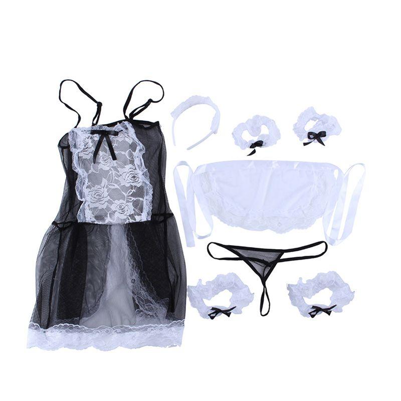 Sıcak 2018 Yeni Yay Dantel Lingerie Kadın Fransız Hizmetçi Cosplay Sexy Lingerie Sıcak Şeffaf Kostümleri Erotik Güzel Hizmetçi Kostü ...