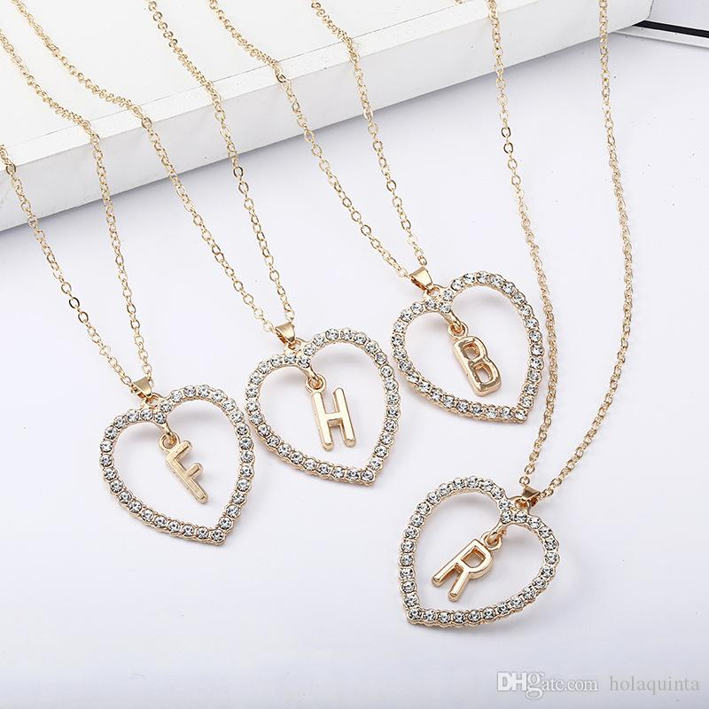 38329d442c886 2019 Simple gold Color love heart necklaces & pendants double Rhinestone  choker necklace women statement jewelry