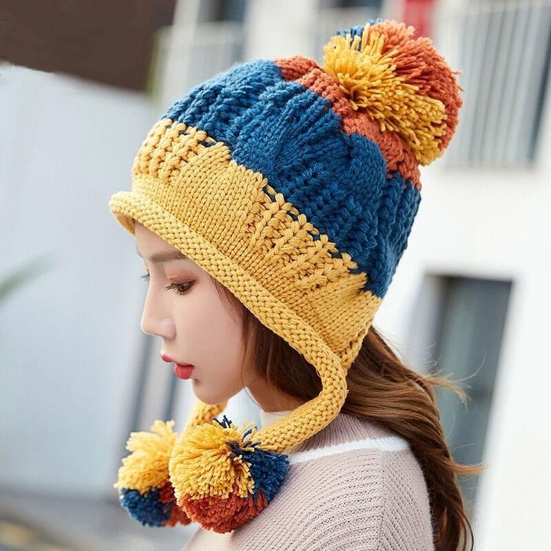 Winter Warm Natural Raccoon Fur Hats for Women Knitted Braid Beanie Female Caps Pompon Headgear Winter Girl Lady Skullies Hats