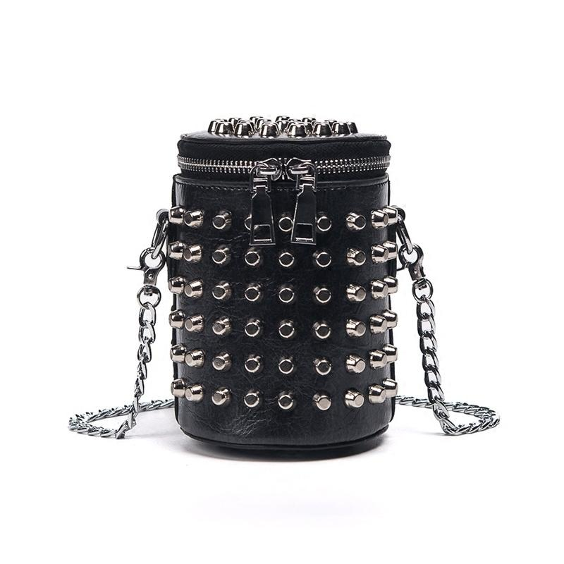 Retro European Style Fashion Handbags 2019 High-quality Pu Leather Women Bag Punk Rivet Bucket Shoulder Bag Chain Messenger Bag