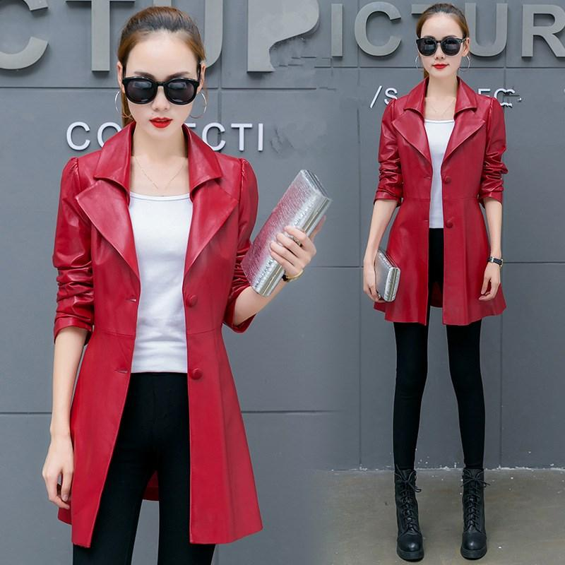d9d4bfeb2b9e8 2019 2018 Autumn Winter Soft Long Pu Leather Coat Turn Down Collar Female  Single Breasted Plus Size Women Faux Leather Jacket From Volontiers
