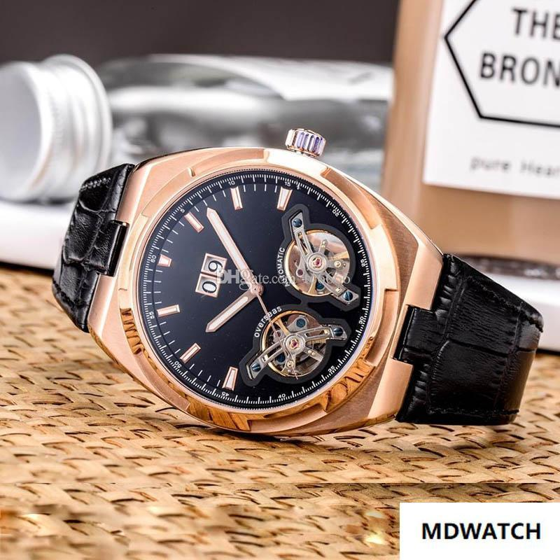 High-end luxury watch men mechanical automatic watch double flywheel design leather strap calendar display Men's Sport Watches wristwatches