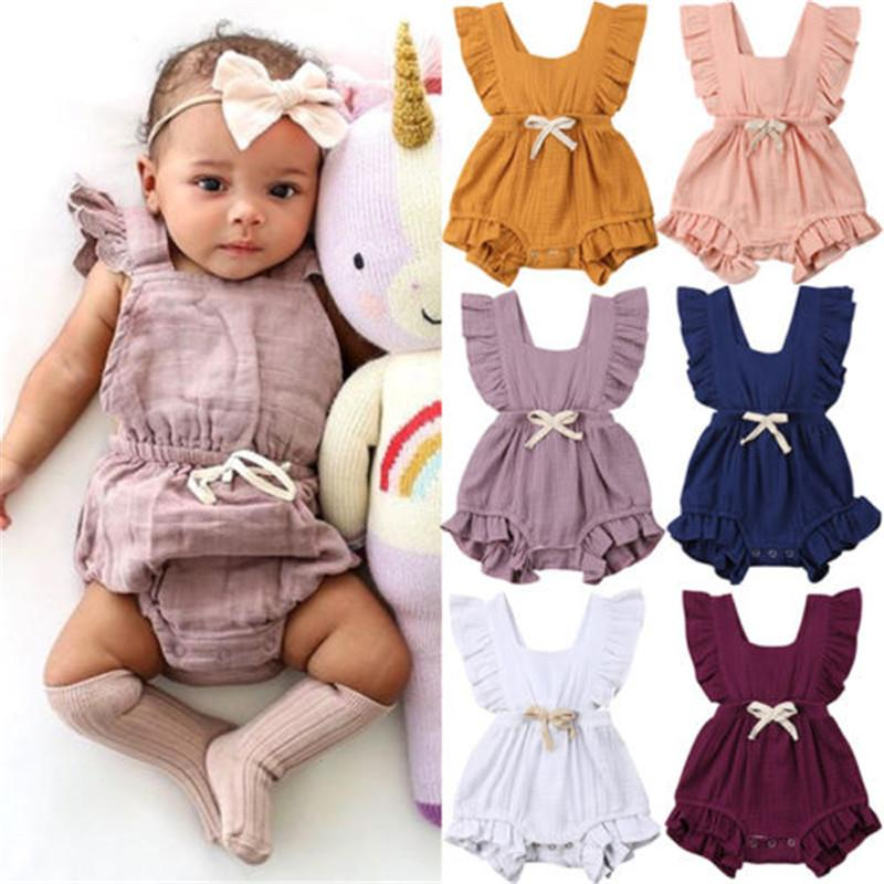 Newborn Baby Girls Ruffle One-Pieces Sleeveless Solid Color Backless Bow Romper Jumpsuit Outfits Summer Cotton Girl