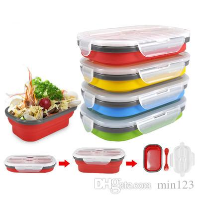 800ML Large Capacity Folding Silicone Lunch Box Portable Outdoor Travel Food Container Student Bento Food Storage Box
