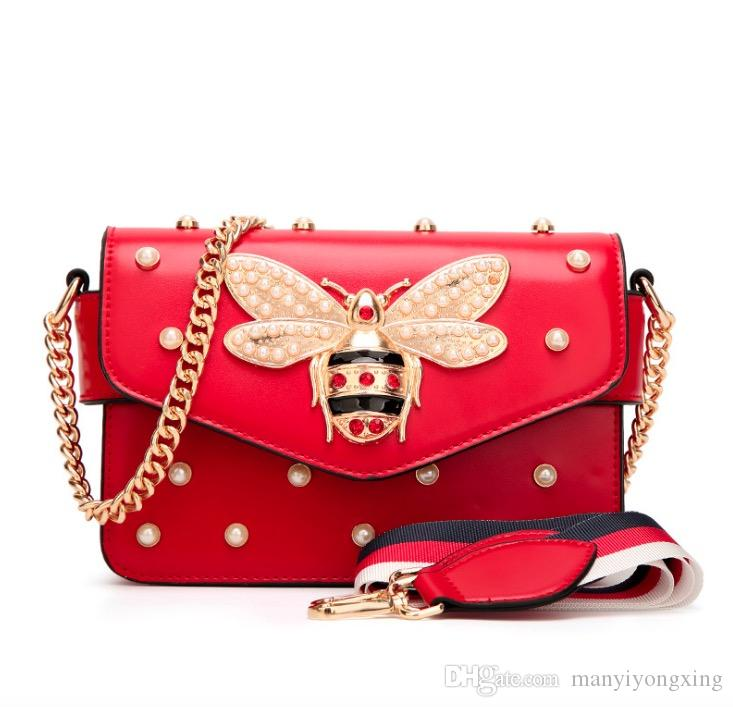2018 Women Pink, Red, Black And White Color Splicing Little Bee Bags Fashion Zipper Designer Handbag Casual Shoulder Messenger Bag New Sac