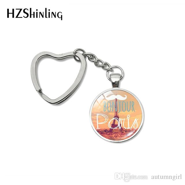 2019 New Fashion Bonjour Paris Heart Keychains Je T'aime Eiffel Tower Glass Cabochon Key Fob for Women Men Gifts