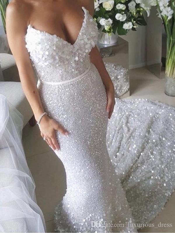 Sparkle White Sequin Applique Strapless Sexy Mermaid Wedding Dresses Train Luxury Paillette lace wedding Bridal Gowns Vestidos De Novia