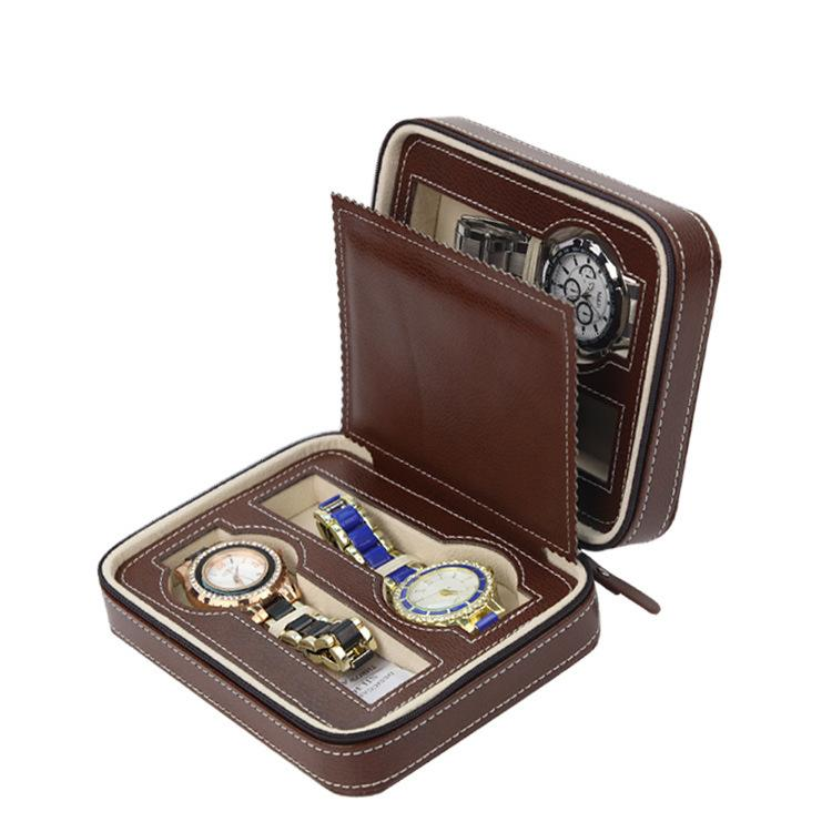Luxury Brown Zippered Leather Watch Travel Case Sport Storage Box Watch Usa 4 Organizer Leather For Four Watches Velvet Lining