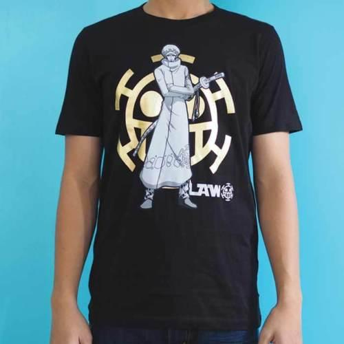 Anime One Piece Law Gold Foil Printed Black Licensed T Shirt 100