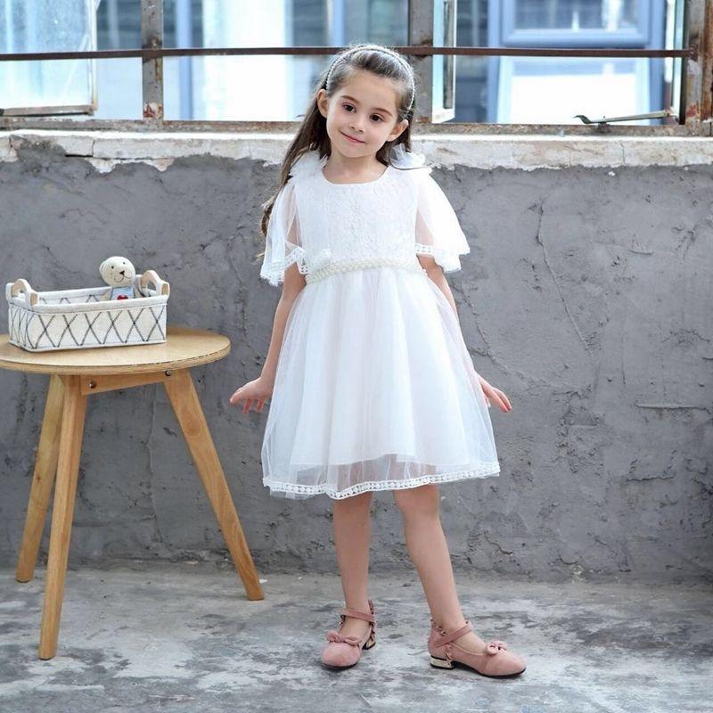 separation shoes 1b11d 07e0d Sommer Perlen Mädchen Kleid 2019 Mädchen Teenager Prinzessin Weißes Kleid  Schal Voile Schulter Blume Rosa Kinder Kleider Für Hochzeit