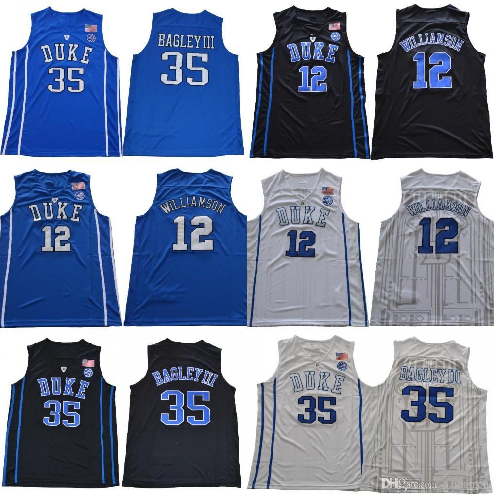 save off 1bdbb 4f641 NCAA Duke Blue Devils ACC Jersey 12 Zion Williamson 35 Bagley III Black  White blue Men College Basketball stitched Jersey