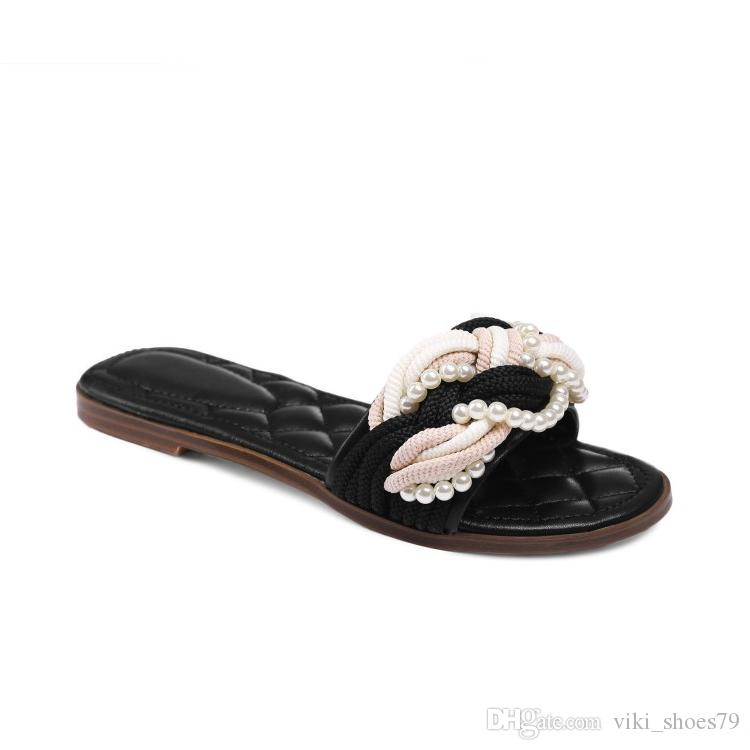 592d98066 New Ladies Flat Sandals Woman Slipper Girl Dress Shoes Hand Craft Pearl  Beading Genuine Leather Upper Rubber Sole Outdoor Slippers White Shoes  Womens ...