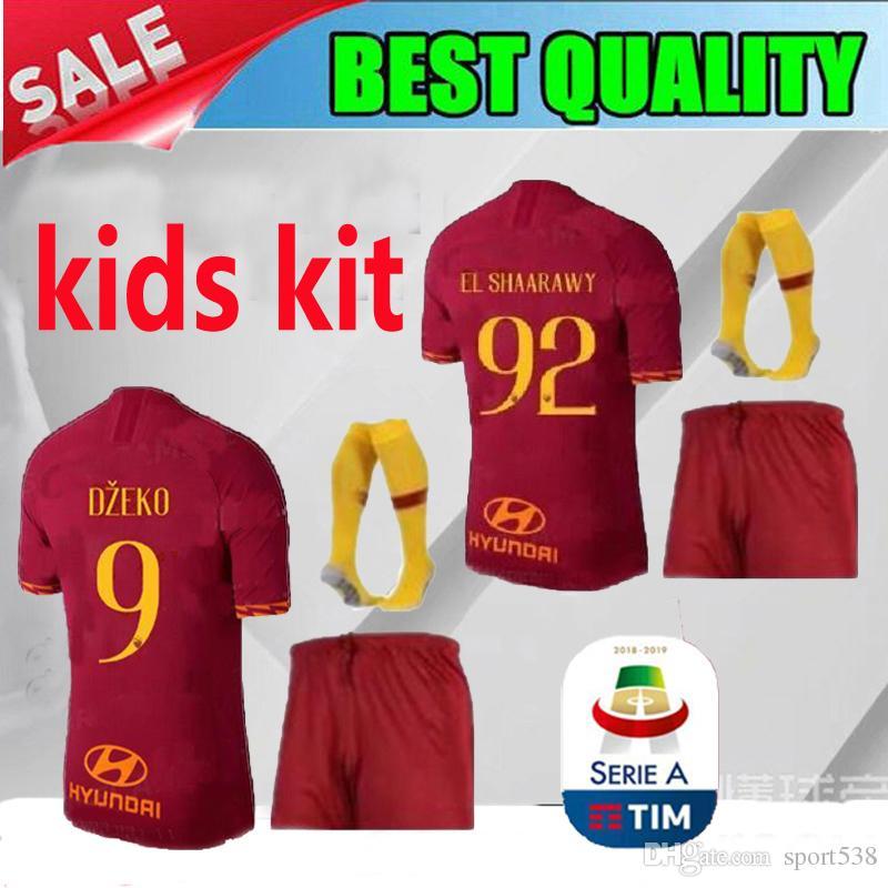 eb8877a87 2019 2019 Roma Home KIDS KITS Soccer Jerseys Kit With Socks 19 20 ...