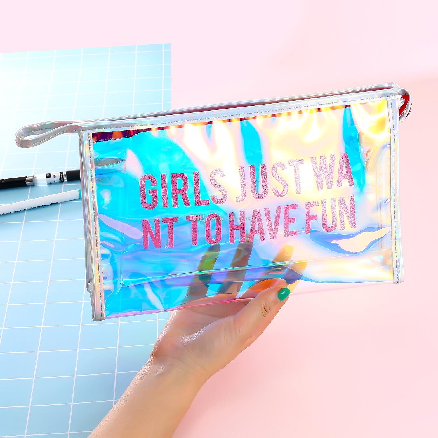 Transparent Cosmetic Bag 2 Designs Lovely Style Storage Bag PVC Bathroom Bags 26.5*17CM Store Content Bag 10 Pieces DHL