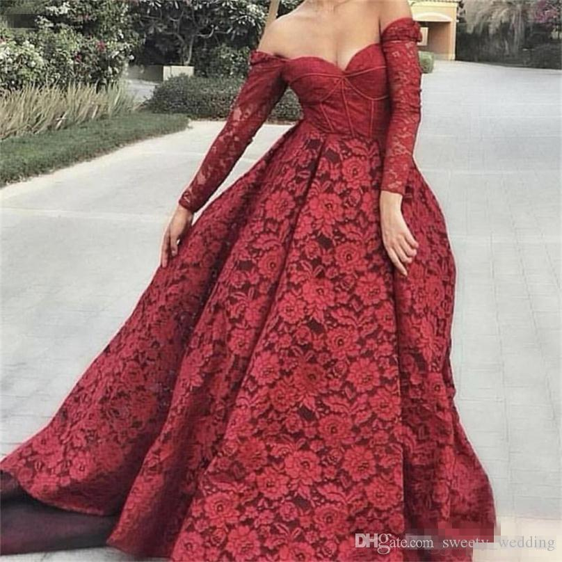 Elegant Long Sleeves Evening Dresses Off The Shoulder Exposed Boning Lace Prom Dress Lace Formal Wear Plus Size Party Gowns Vestidos