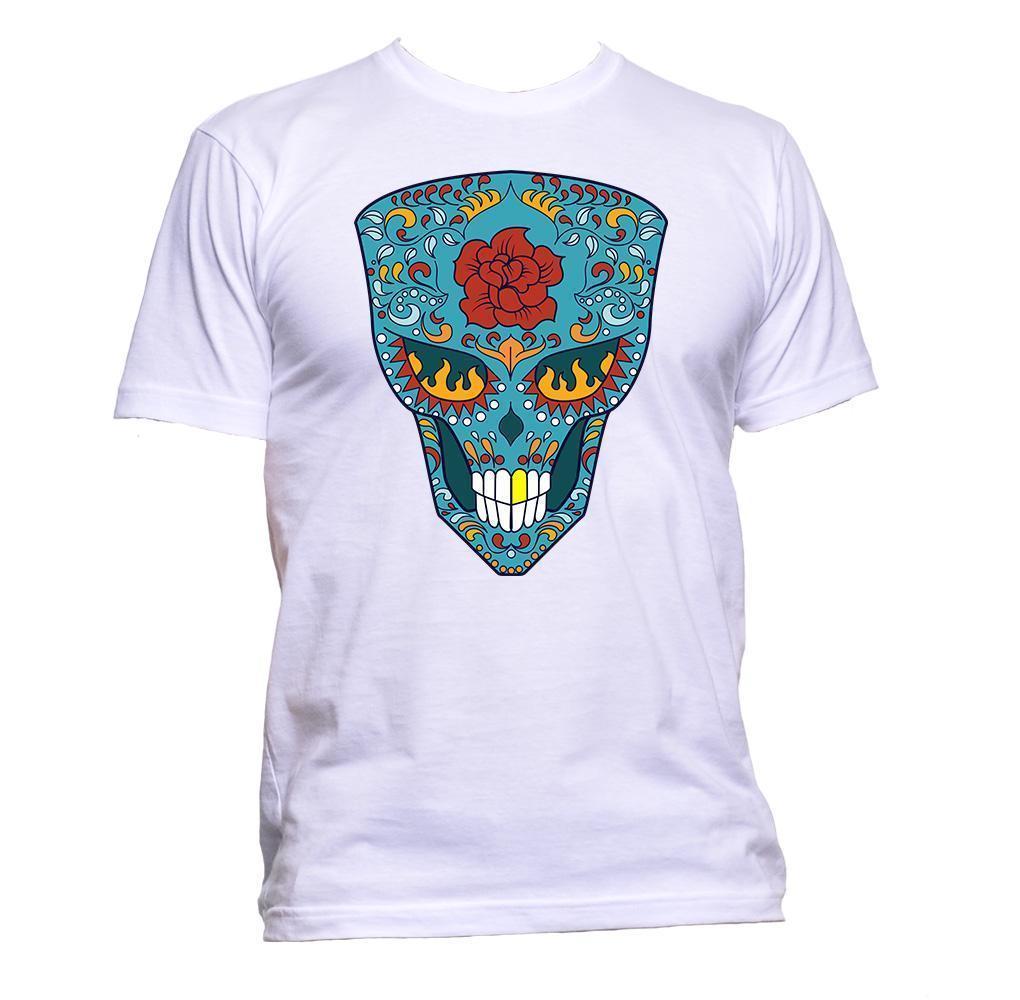 2a8d87d71d Sugar Skull Cyan Coloured With Flower T-Shirt Mens Womens Unisex ...