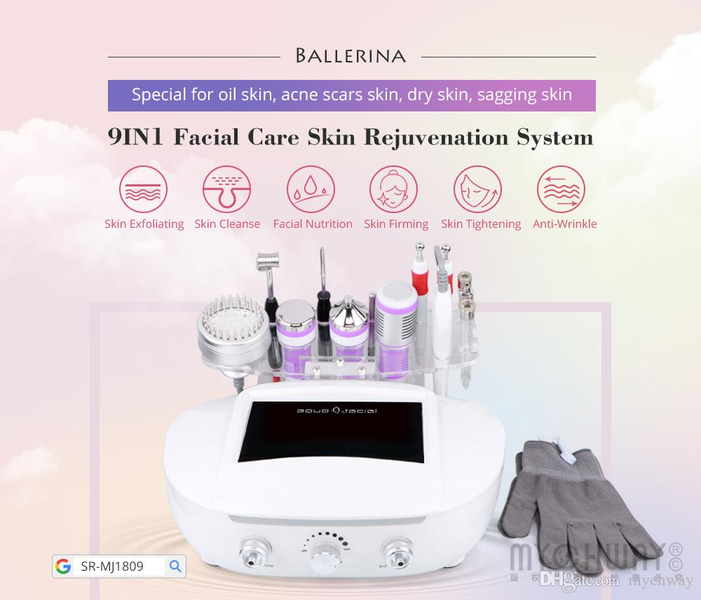 New Facial Equipment Diamond Microdermabrasion Machie 3Mhz Ultrasonic Skin  Scrubber Light Therapy Magic Gloves Galvanic Current Cleansing