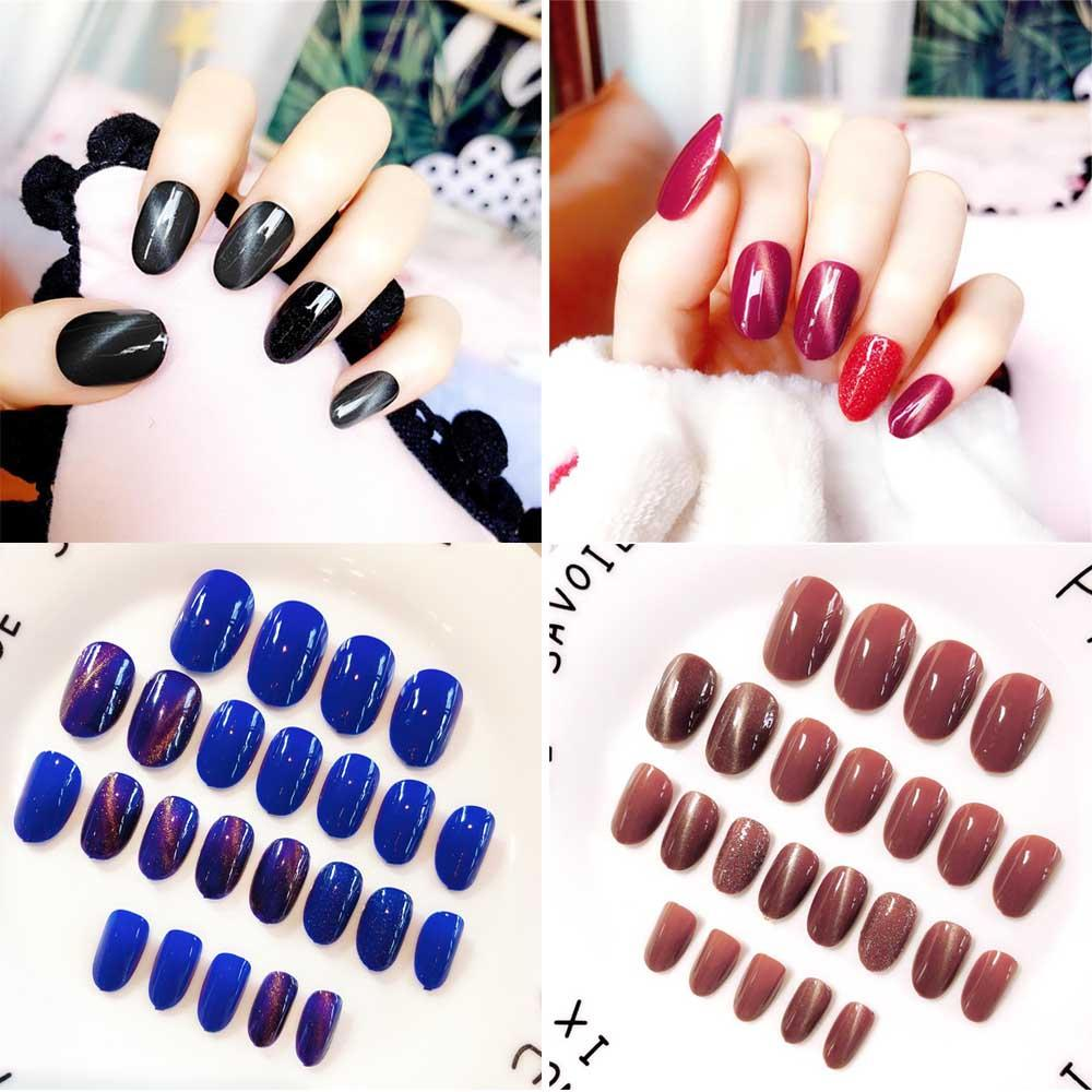 Fake Nails Lattice Grid Design Artificial French Multiple Colors ...