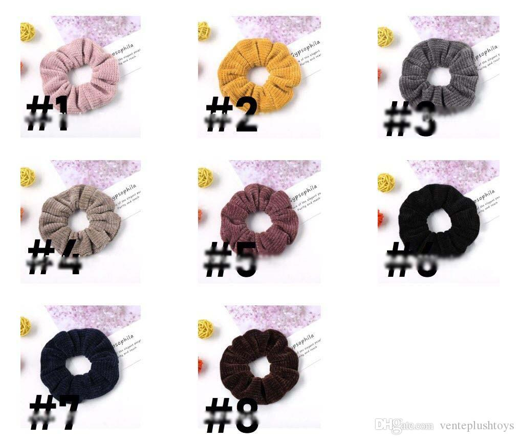 Scrunchies Hairband Striped Rubber Hair Band Wide Hair Ties Knitted Headband Girls Ponytail Holder Winter Hair Accessories 8 Designs