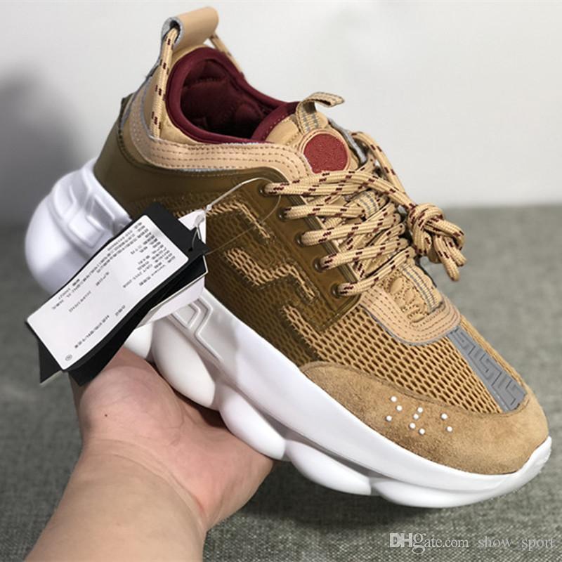 8de4ce8fc8b9 New Designer Chain Reaction Men Designer Casual Shoes Fashion Luxury Brand  For Women Sneakers Black White Mens Height Increasing Sports Shoe Walking  Shoes ...