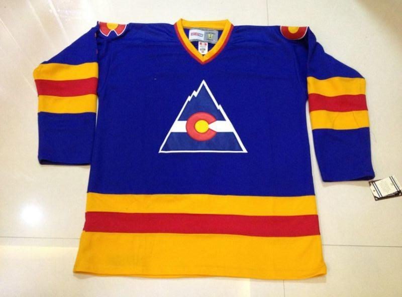 buy popular fac24 637ba Men Women Youth Vintage Old Time Colorado Avalanche Third Customized Hockey  Jersey 1 Chico Resch jersey Goalie Cut Goalit CCM Blue jersey