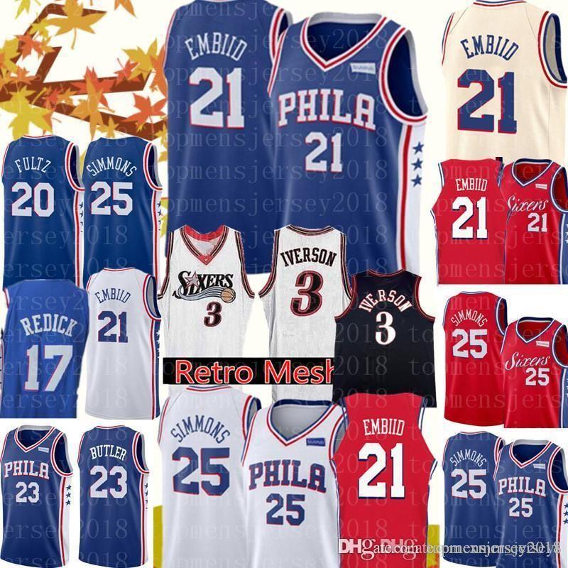 3bbc36fd6 ... sale 2019 new 21 joel embiid jersey 76ers jerseys mens 25 ben simmons  17 jj redick ...