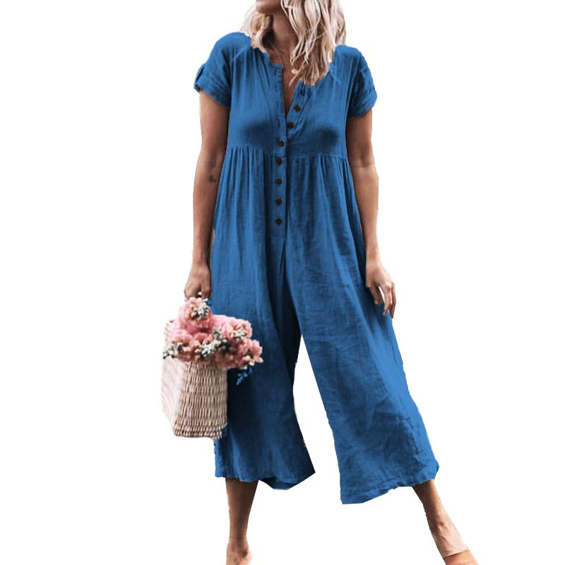 29feca528483 2019 Loose Rompers Trousers Botton Jumpsuit Summer Short Sleeve ...